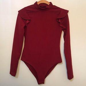 SHEIN Burgundy Turtleneck Ruffle Sleeve Bodysuit